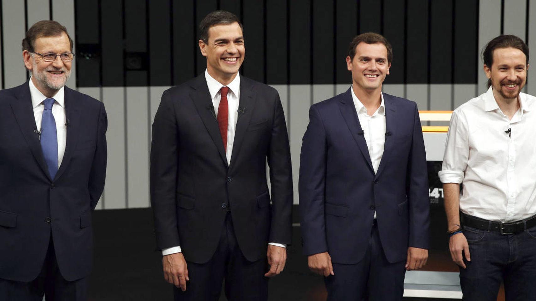 Mariano Rajoy (PP), Pedro Sánchez (PSOE), Albert Rivera (Ciudadanos) et Pablo Iglesias (Unidos Podemos) lors du débat du 13 juin 2016.