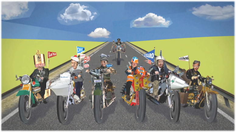 « Les nouveaux chiens de gardes » : les principaux propriétaires des médias français sont représentés sur des motos avec Nicolas Sarkozy