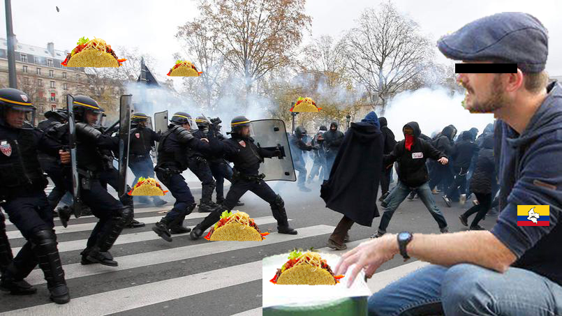 """""""El Casqueto"""" lors d'une confrontation avec les forces de l'ordre (Paris, 6 novembre 2016). Source : AFP (tous droits réservés)."""