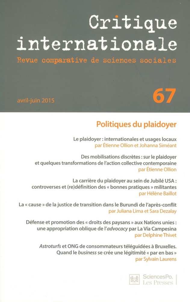 Couverture Critique Internationale