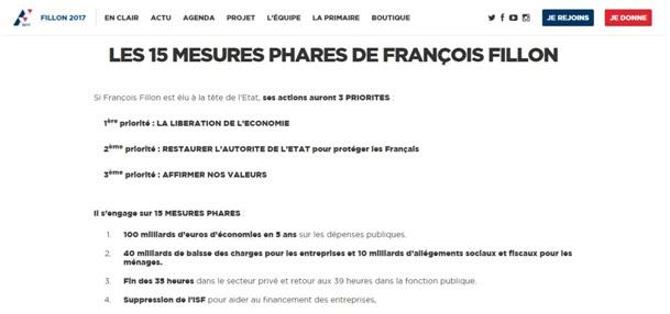 Site web de François Fillon, candidat Les Républicains aux élections présidentielles, www.fillon2017.fr