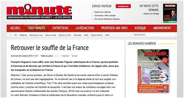 Article de Minute du 26 octobre 2016, sur le site web de l'hebdomadaire (www.minute-hebdo.fr). Capture d'écran.