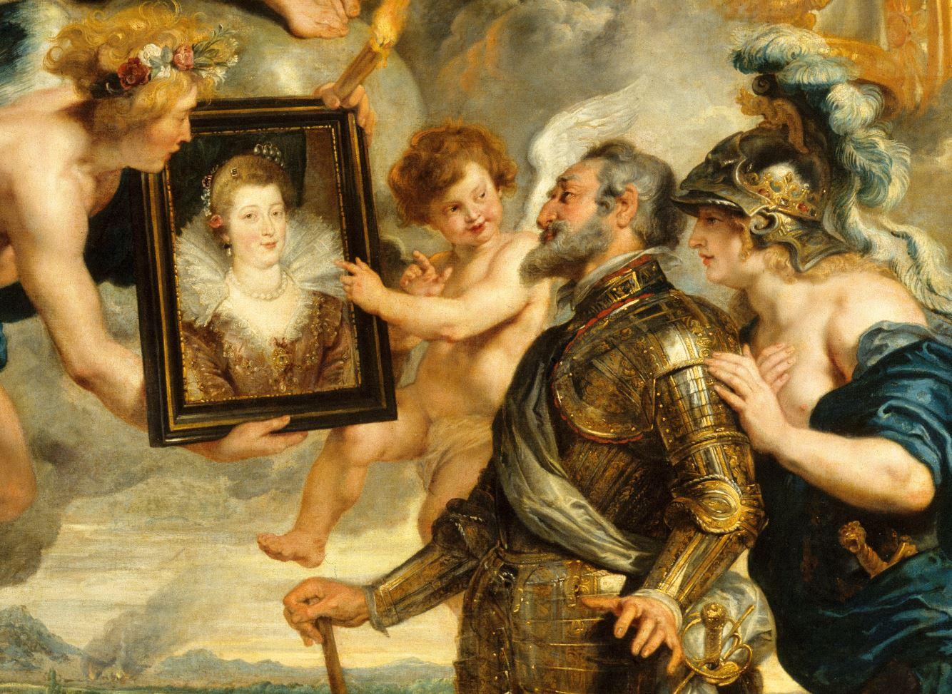 Pierre Paul Rubens, Henri IV reçoit le portrait de Marie de Médicis (détail) © RMN-GP (Musée du Louvre) / René-Gabriel Ojéda / Thierry Le Mage