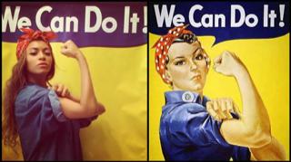 """D'une affiche de propagande, Rosie the Riveter, au mouvement """"nouveau féminisme"""" incarnée par Beyonce Source : http://www.hollywoodreporter.com/news/beyonce-proclaims-girl-power-rosie-720434"""
