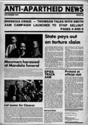 """Une du journal """"Anti-Apartheid News"""" publié par le mouvement anti-apartheid en novembre 1968"""