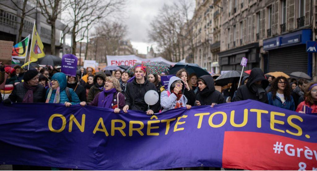 Des militants de la manifestation du 8 mars 2020 à Paris (© Antonin Ménagé)